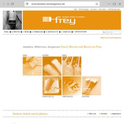 Homepage Webshop Malerbedarf