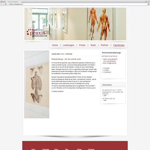 Physiotherapeutische Praxis Website