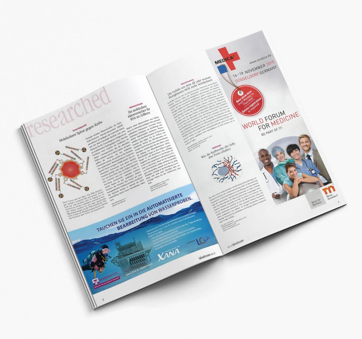 Anzeige in Fachzeitschrift für Laboranalytik.