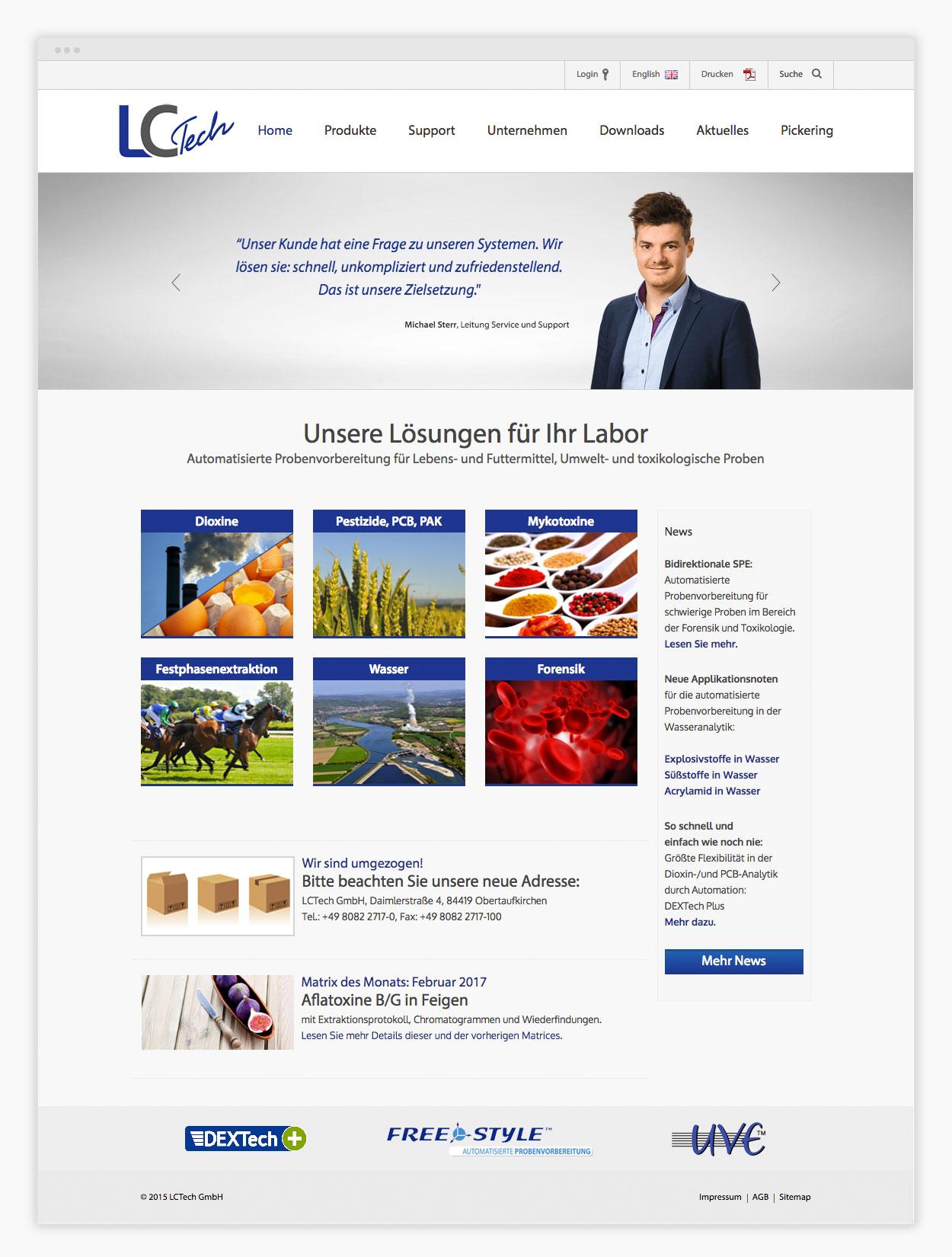 Website Labortechnologie Startseite