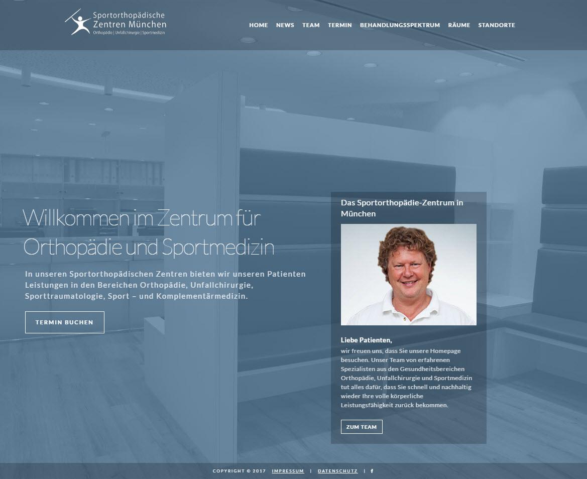 Responsive WordPress-Website Sportorthopädisches Zentrum München