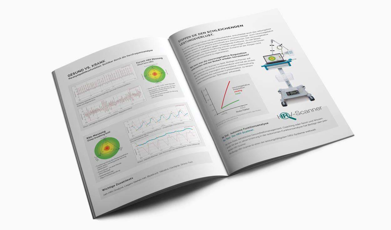 Doppelseite HRV-Scanner, Broschüre 16 Seiten für Medizintechnikunternehmen