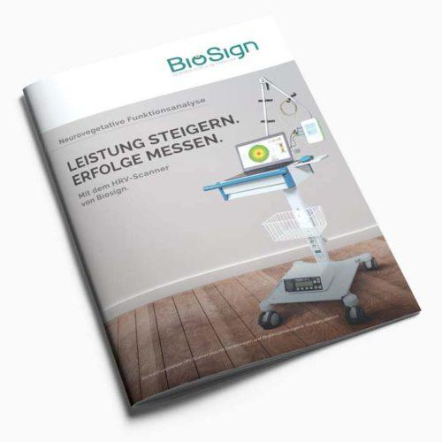 Titelseite, Broschüre 16 Seiten für Medizintechnikunternehmen