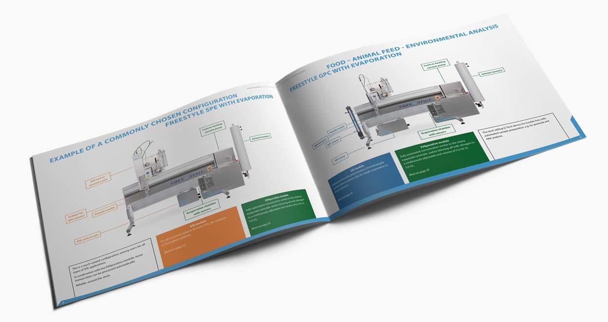 Broschüre Freestyle 40 Seiten, für eine Labortechnik Firma. Seite SPE und GPC.
