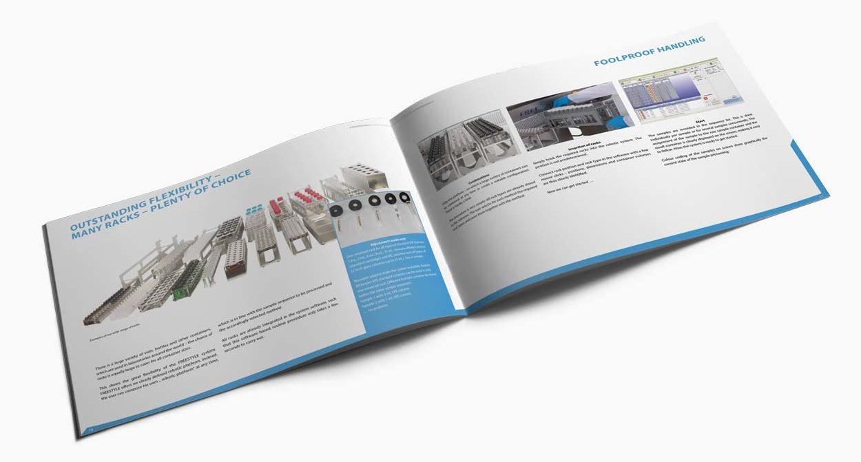 Broschüre Freestyle, 40 Seiten für eine Labortechnik Firma. Seite Racks.