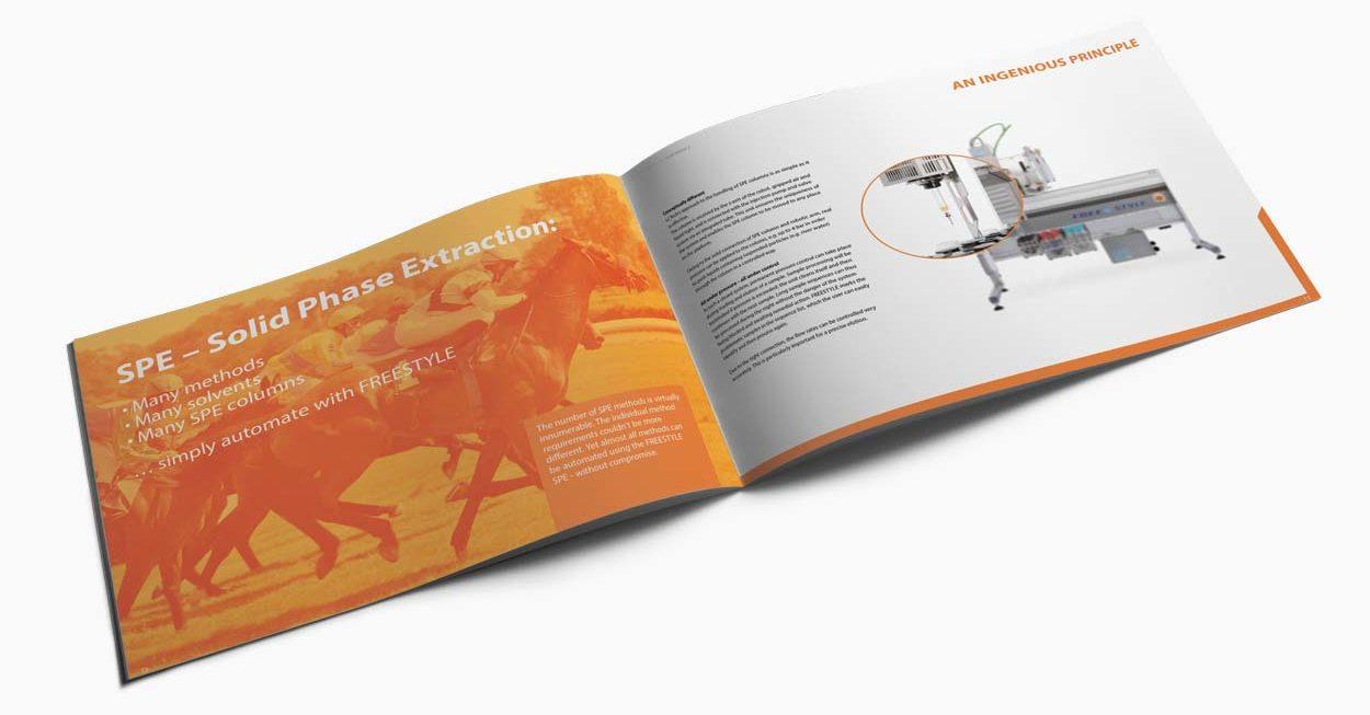 Broschüre Freestyle 40 Seiten für eine Labortechnik Firma. Doppelseite Solid Phase Extraction.