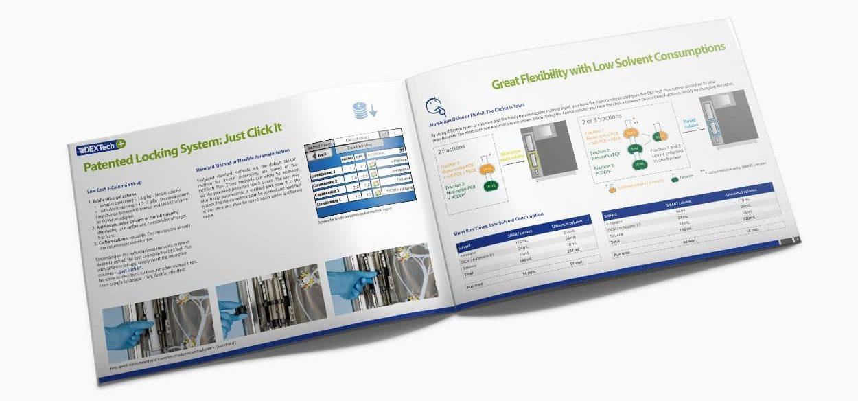 Broschüre 8 Seiten für ein Dioxinprodukt einer Labortechnik Firma.