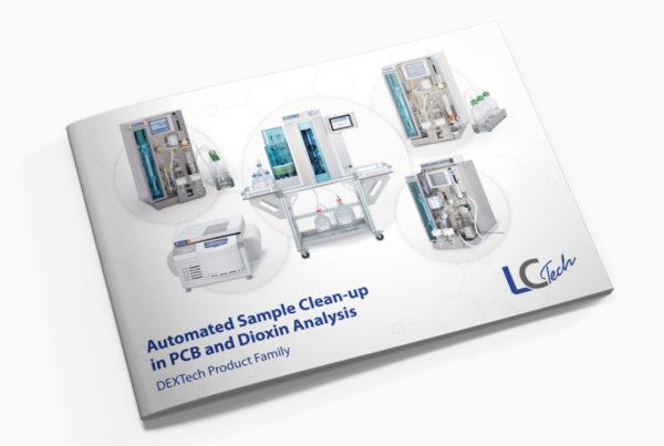 Broschüre Dioxinprodukte für eine Labortechnik Firma