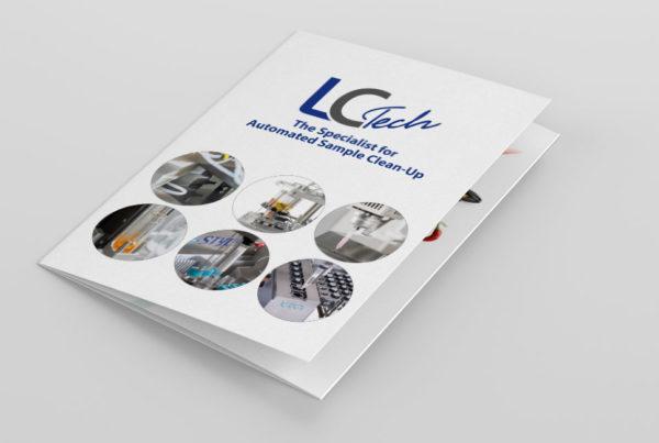Faltblatt Gesamtprogramm für eine Labortechnik Firma