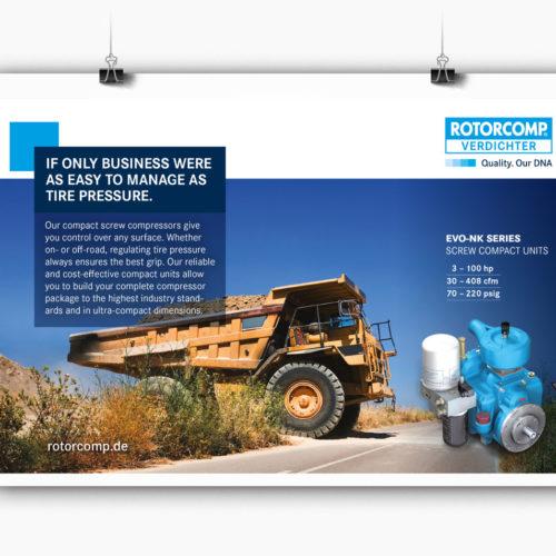 Anzeigenkampagne für Bremsenkompressoren in Fachzeitschriften
