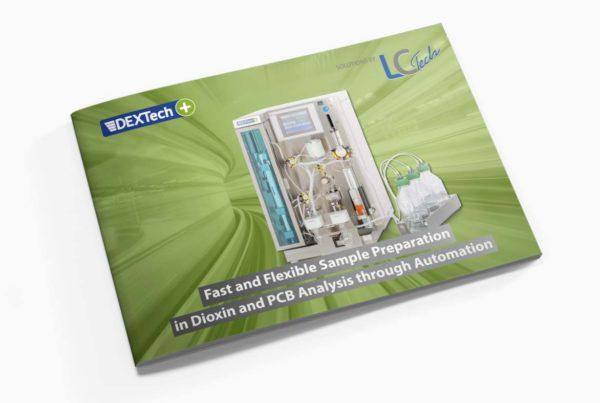 Broschüre 8 Seiten für ein Dioxinprodukt eine Labortechnik Firma.