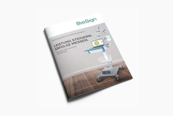 Broschüre 16 Seiten für die Medizintechnikfirma Biosign.