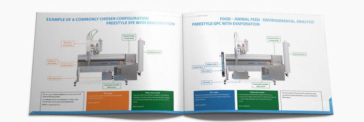 Broschüre Gesamtprogramm 40 Seiten für eine Labortechnik Firma