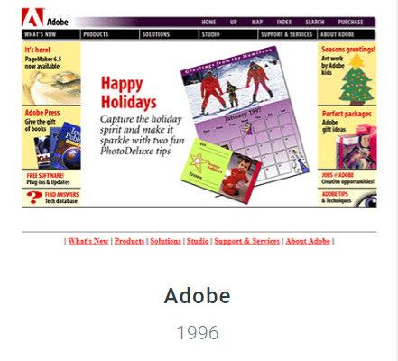Adobe Website 1996 - Webdesign Museum