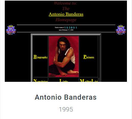 Website Antonio Banderas 1995 - Webdesign Museum