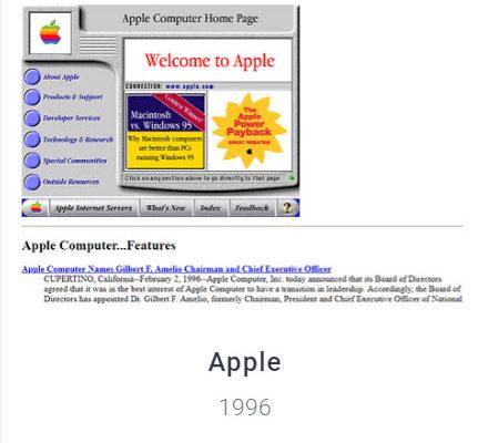 Apple Website 1996 Webdesign Museum