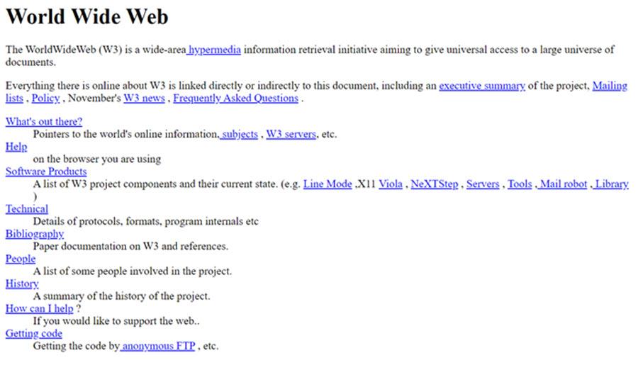 Die erste Website im Internet von Tim Berner-Lee.