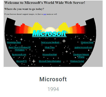 Microsoft Website 1994 - Webdesign Museum